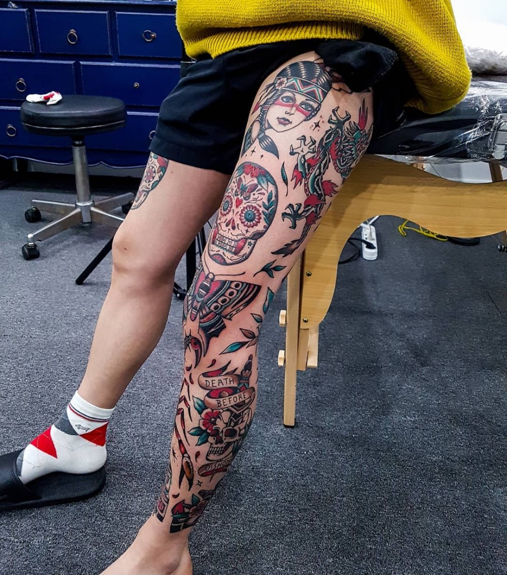"""""""Wow, Just Wow! 83+ Badass Full Leg Tattoo Ideas For Guys And Females """""""