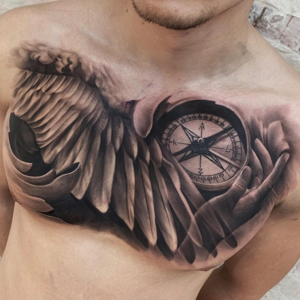 realistic-compass-black-grey-art-angel-wing-tattoo-tschillerr