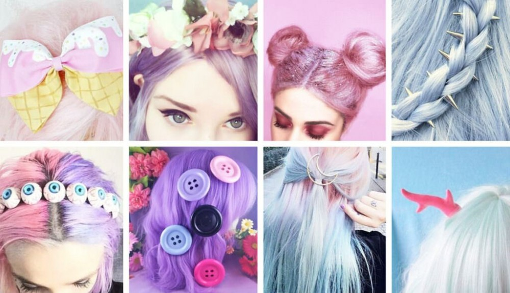 how to look like a cute goth, pastel goth anime, pastel goth aesthetic, Pastel Goth Hair Accessories