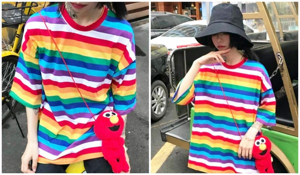 Rainbow Clothing and Accessories Rainbow Striped Round Neck Loose T-Shirt itGirl Shop Blog