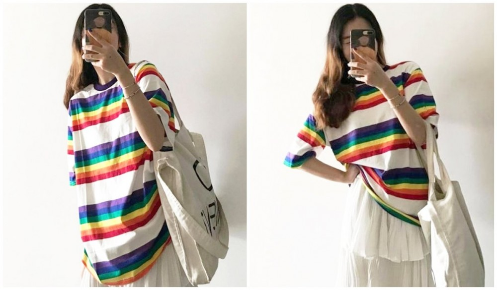 Rainbow Clothing and Accessories Oversized Tomboy Stripes Rainbow Long T-Shirt itGirl Shop Blog