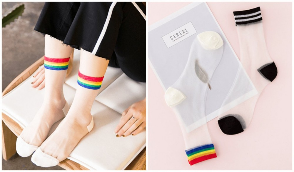 Rainbow Clothing and Accessories High Ankle Transparent Rainbow Socks itGirl Shop Blog