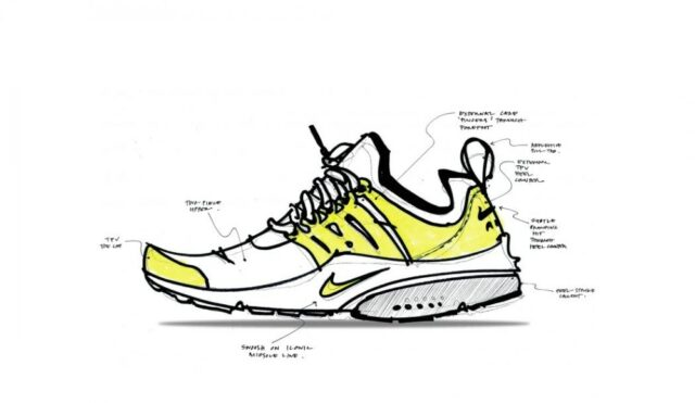 nike air presto shoe sketch