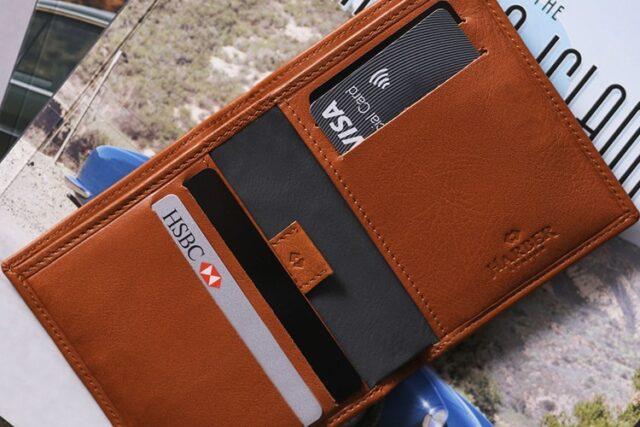 harber london leather bifold super slim design wallet