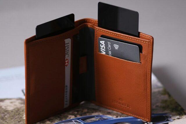 harber london leather bifold hidden card slots wallet