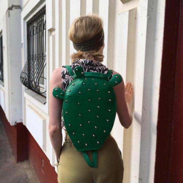 Stylish leather cactus backpack - unique backpacks