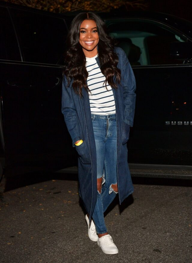 Image may contain Gabrielle Union Pants Clothing Apparel Jeans Denim Footwear Shoe Human and Person