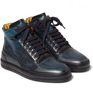 Berluti Polished Leather High Top Sneakers4, black shoes with blue jeans, what trainers to wear with blue jeans, best shoes to wear with jeans men's, light blue jeans brown shoes, how to wear sneakers with jeans men's, grey shoes with blue jeans