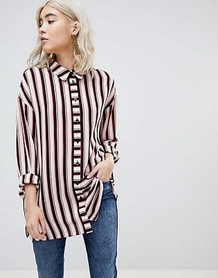 Asos Design Longline Shirt In Cut About Stripe