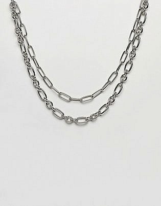 Asos Design Multirow Necklace With Hardware Chains In Silver