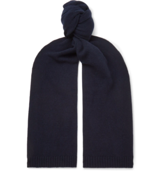 Navy Cashmere And Wool Blend Scarf