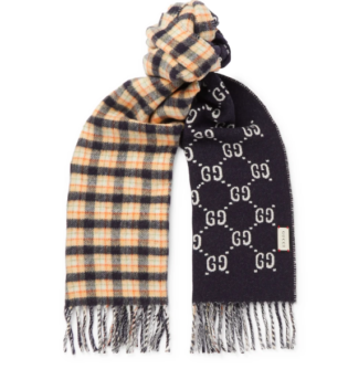 Navy Logo Jacquard Checked Wool Scarf