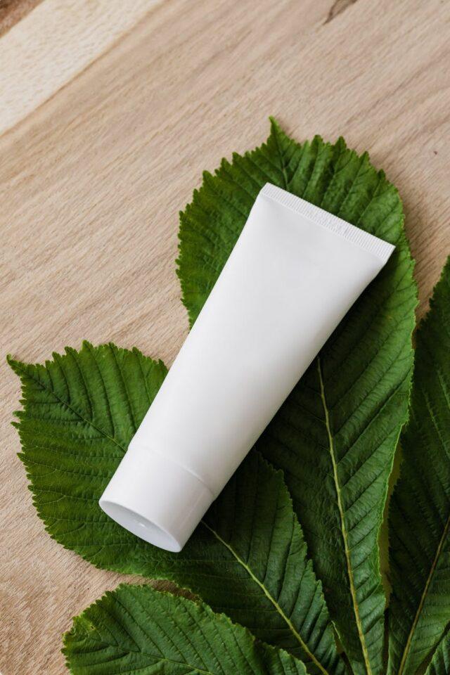 blank cosmetic tube on fresh chestnut leaf